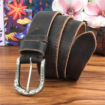 Vintage Genuine Leather Belt Men Metal Pin Belt Buckle Long Waist Belt Men Jeans Belts For Men Ceinture Homme Riem Cinto MBT0046