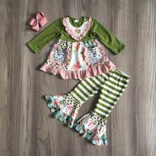 เด็กหญิงฤดูใบไม้ร่วงเสื้อผ้าสาวชุดดอกไม้กับกระดิ่งด้านล่างกางเกงเด็กเด็ก Boutique เสื้อผ้ากับโบว์เด็กชุดสีเขียว