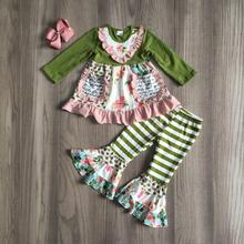 children Girls Fall clothes girls floral dress with bell bottom pants baby kids boutique clothing with bow kids green set