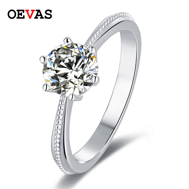 OEVAS 100 925 Sterling Silver Bridal Rings Sparkling 1 Carat D Color Moissanite Wedding Engagement Party Fine Jewelry Wholesale