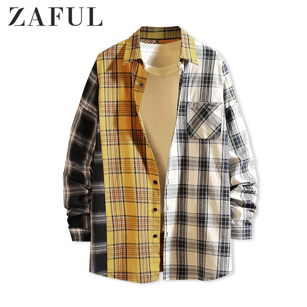 ZAFUL Men Long Sleeve Contrast Plaid Print Pocket Shirt Turn-Down Collar Long Sleeve Hit Color Button Up Tops Male Casual