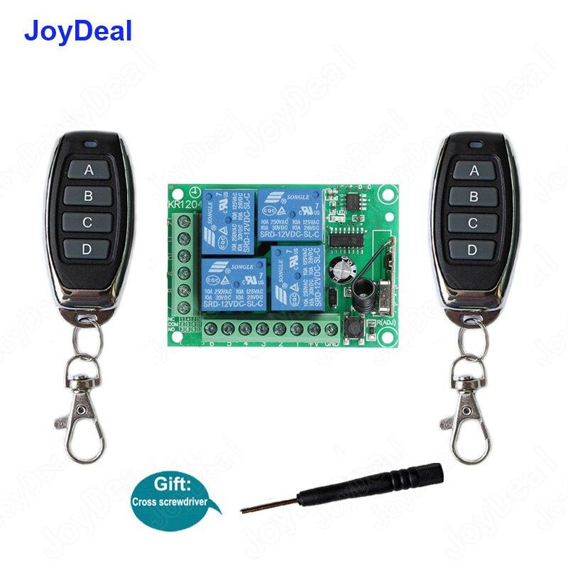 433MHz DC 12V 4CH RF Wireless Switch Controle Remoto Sistema de Segurança Portas de Garagem, Portão Eletrônico Fechadura com Chave 4 Botões do Transmissor