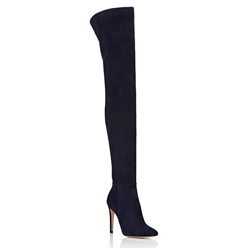 Women's Long Boots Large Size Sexy Pointed Toe Black Suede Thigh Boots Side Zipper Over-the-knee Modern Boot Thin Heels Shoes