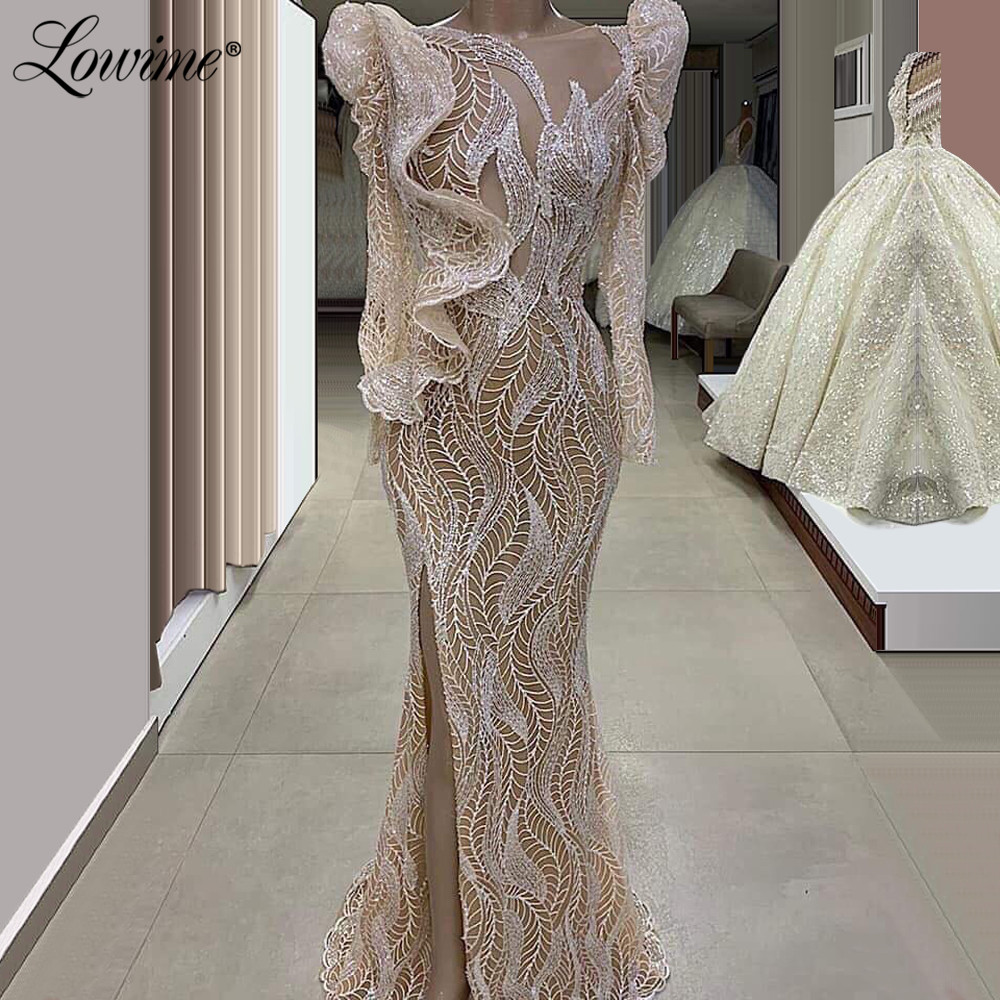 Illusion Long Sleeves Muslim Evening Dresses Slit Side Dubai Kaftan Saudi Arabic Formal Evening Gown 2020 Celebrity Party Dress
