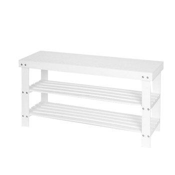 White shoe bench home modern minimalist porch door can sit shoe cabinet Nordic solid wood shoes bench bamboo shoe rack