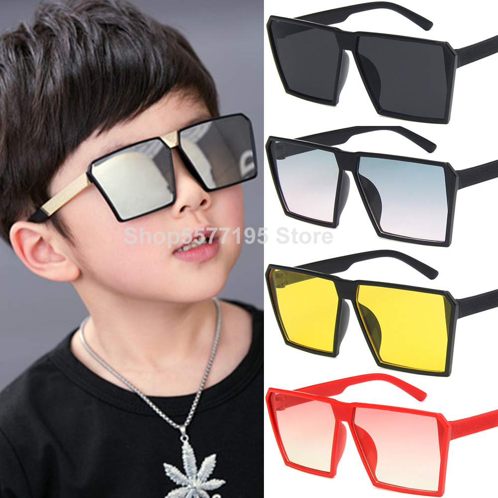 2020 Big Square Frame Boys Cool Sunglasses NEW Style Kids Boy Girl Glasses Reflective Lens UV400 Outdoor Sun Glasses