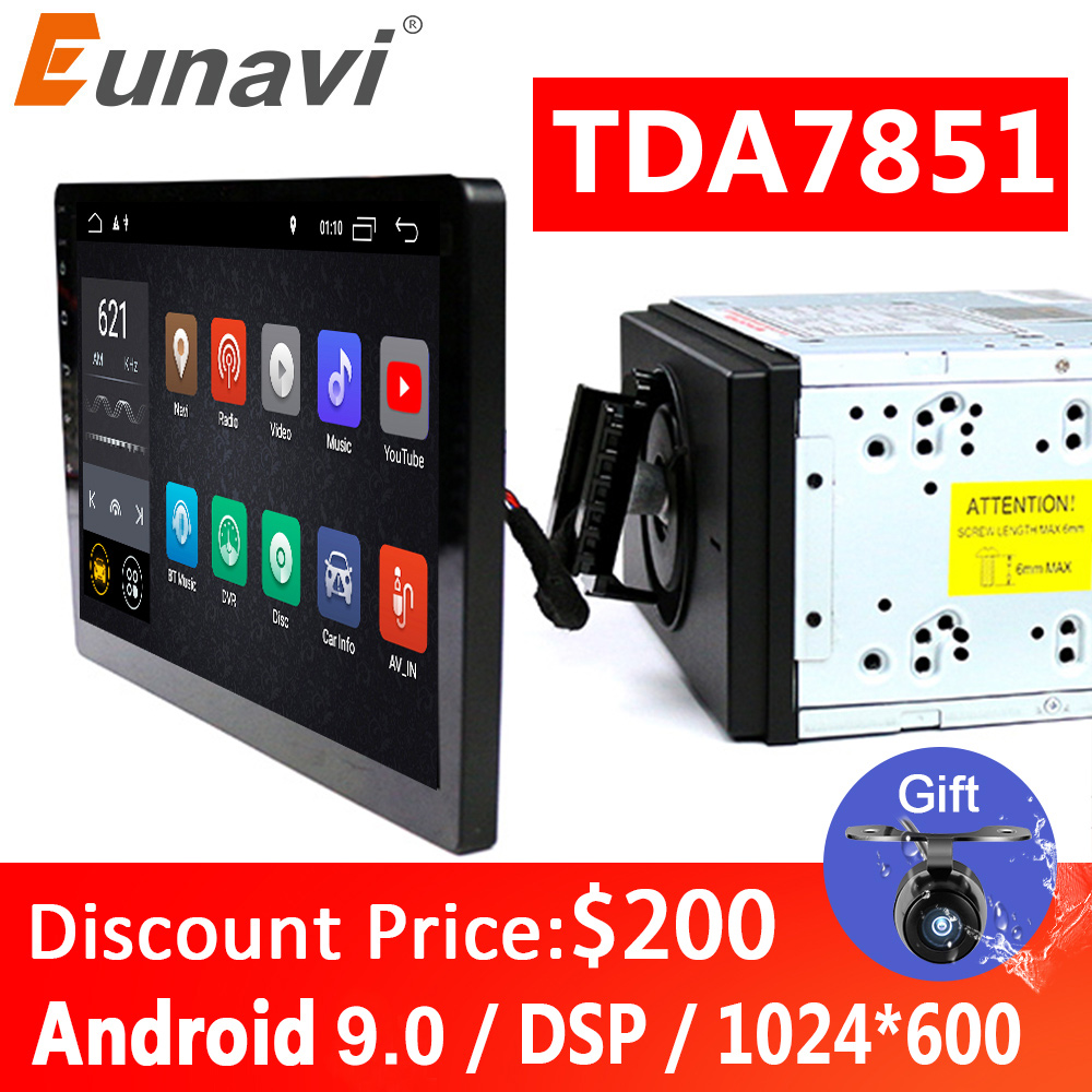 Eunavi 2 din <font><b>10.1</b></font> inch DSP TDA7851 <font><b>Universal</b></font> <font><b>Android</b></font> 9.0 Car Multimedia <font><b>Radio</b></font> player 2din GPS touch screen Bluetooth wifi NO DVD image