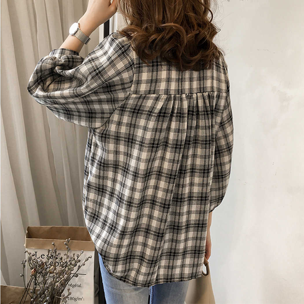 2019 ファッションチェック柄の V ネックブラウスシャツ女性ルースボタントップスとブラウスカジュアル 3/4 スリーブシャツ Blusas 女性 4XL プラスサイズ