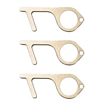 3 sztuk higieny ręcznie środki przeciwdrobnoustrojowe Metal EDC otwieracz do drzwi wielofunkcyjny brelok antywirusową pod środki przeciwdrobnoustrojowe mosiądz narzędzi ręcznych tanie i dobre opinie Brass Key Polerowane Wejście