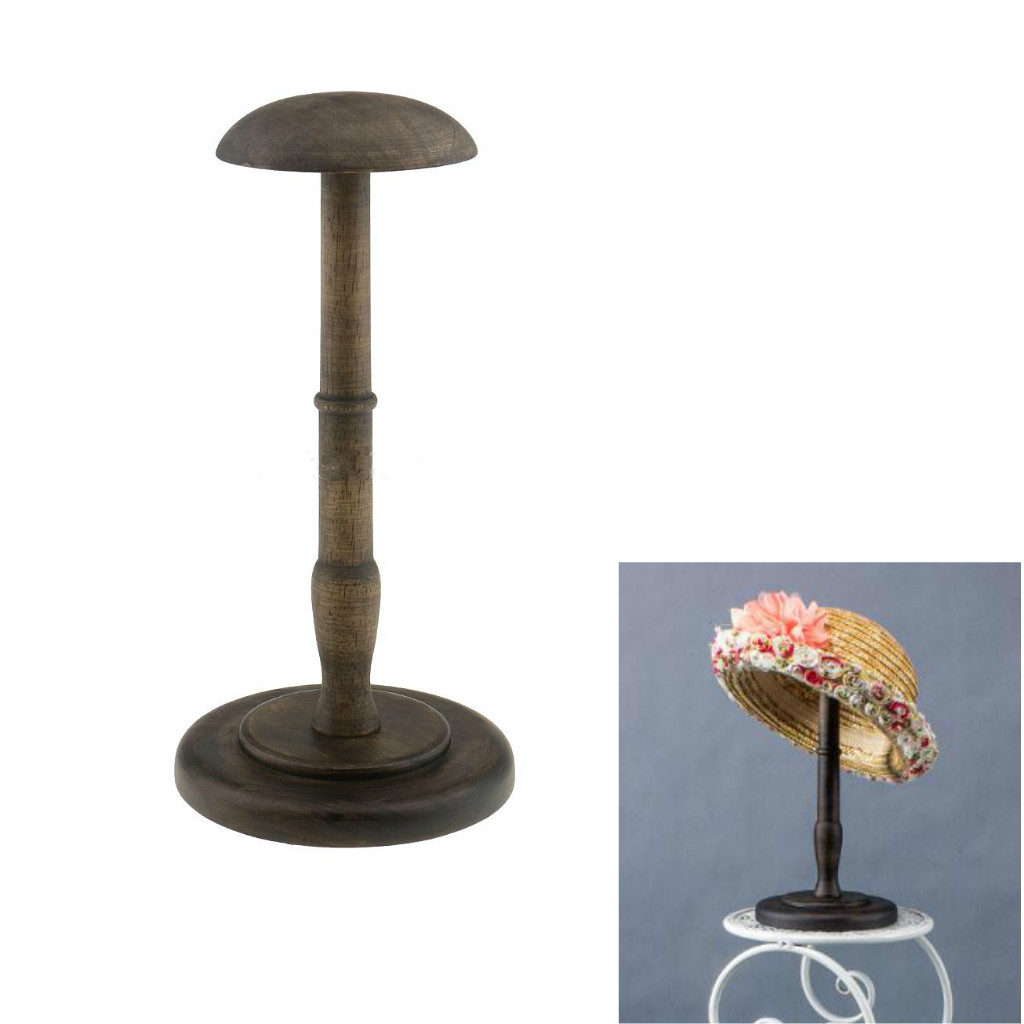13inch Height Vintage Style Wood Wooden Freestanding Hat Rack/Cap/Wig/Helmet Holder Display Stand With Round Base