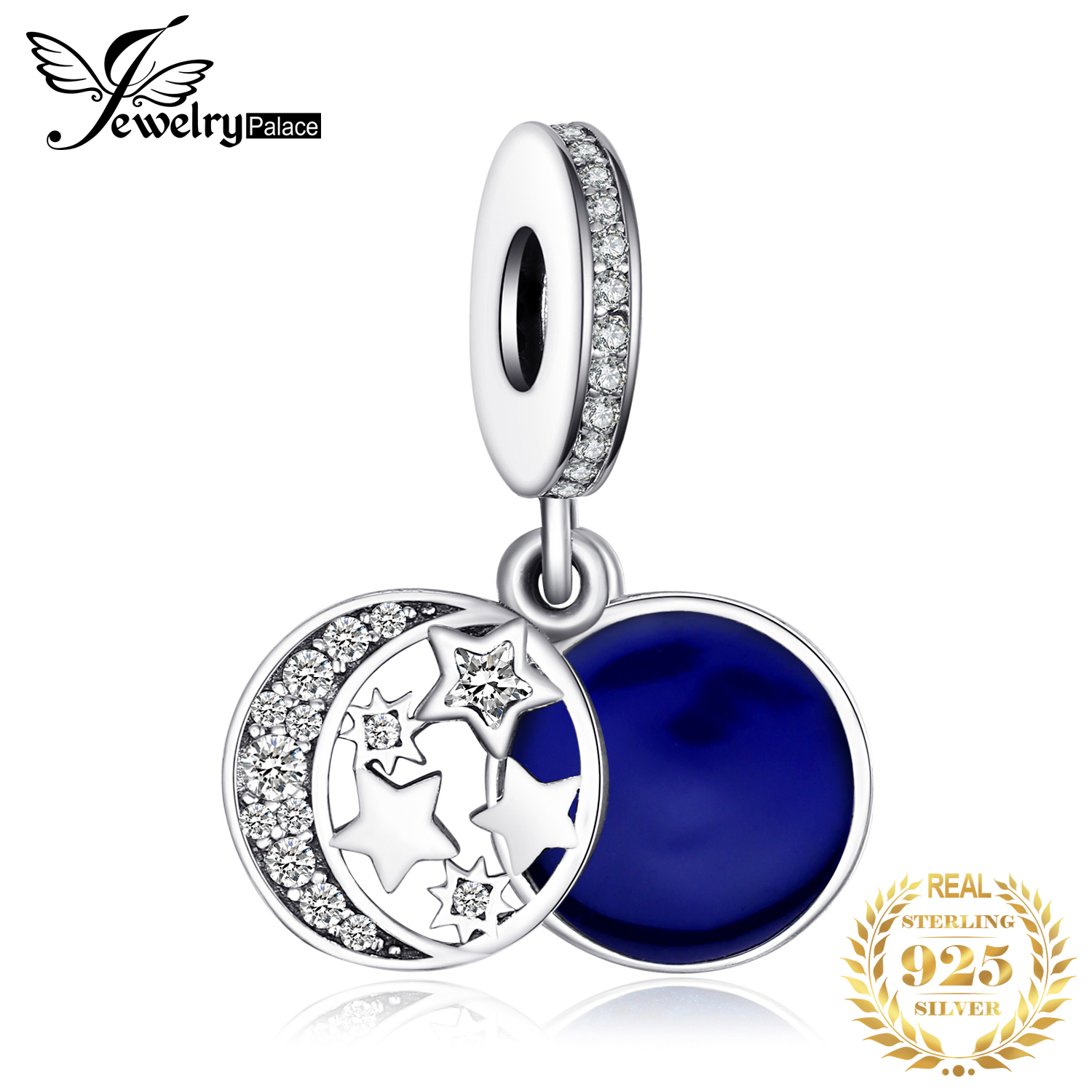 JewelryPalace Blue Moon Star 925 Sterling Silver Bead Charms Silver 925 Original For Bracelet Silver 925 original Jewelry Making image