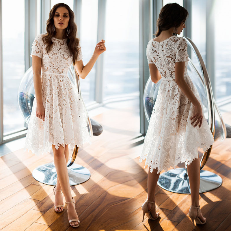 BGW White Lace Round Neck Short Sleeve Cut Out Cocktail Dress For Cocktail Party Knee Length Formal Woman Dress Vestidos