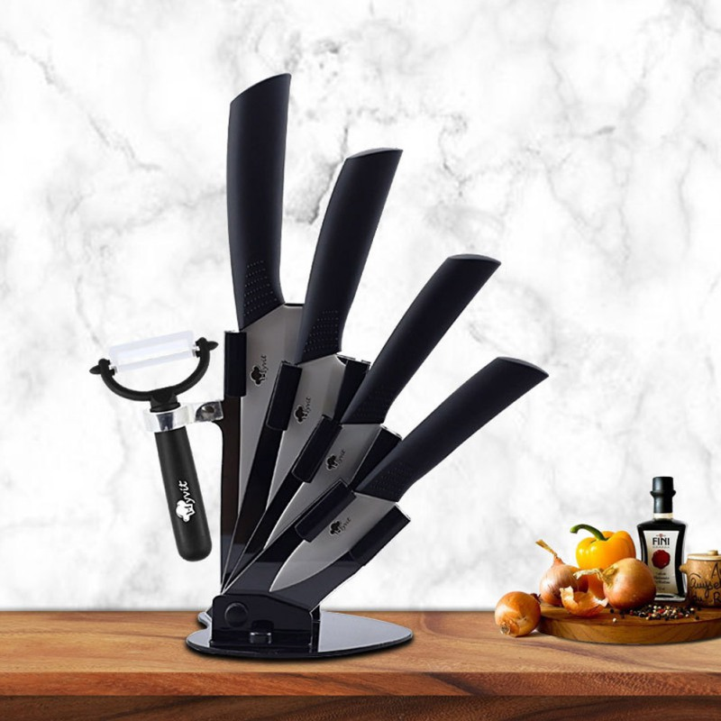 Acrylic Kichen Knife Holder For 3/4/5/6 Inches Ceramic Knife Knives With Peeler Storage Cutlery Stand Block Tool Set Black