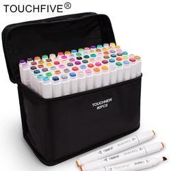 Touchfive 12/24/36/48/60/80/168 cores marcadores de arte caneta álcool baseado marcador duplo headed dicas para o desenho de manga caneta marcador