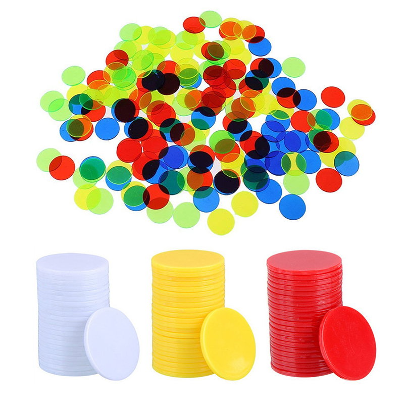 100Pcs/set Translucent Bingo Chip 19mm Class Math Games Toy Classroom Supplies Math Montessori Educational Toy For Children Gift