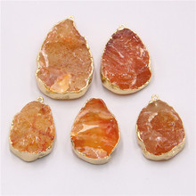 Natural orange agates Druzy necklace pendant pendulum Irregular Stone pendant Connector Charms For Jewelry Making Raw stone(China)
