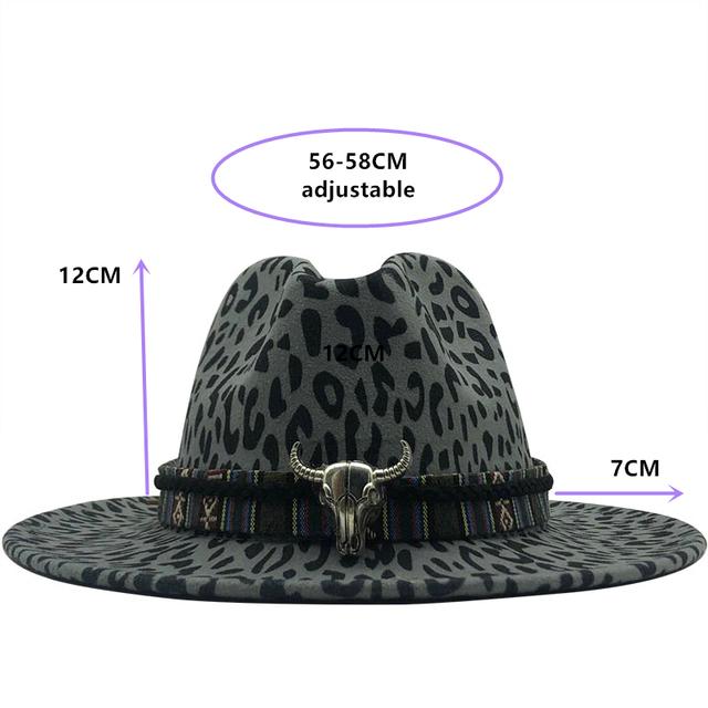 Sombreros Fedora de Jazz de fieltro de lana de visera plana leopardo