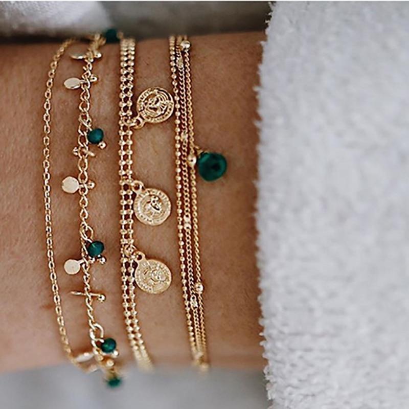 ZHINI Bohemian Charm Gold Bracelet for Women Fashion Multilayer Bracelets & Banglet Set Accessories 2019 Bijoux