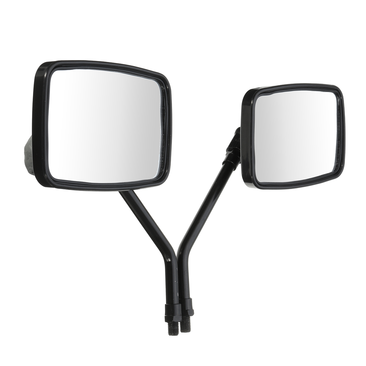 Pair Black 10MM Thread Black Rectangle Rearview Side Mirrors For Motorcycle Scooter ATV