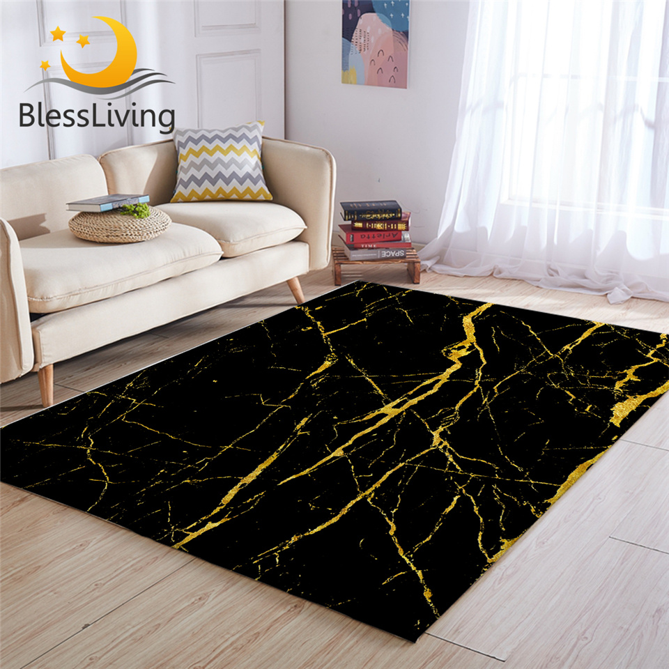 Blessliving Marble Area Rug For Living Room Modern Gold Glitter Black Marble Stone Center Rug Trendy Bedroom Carpet Dropshipping Carpet Aliexpress