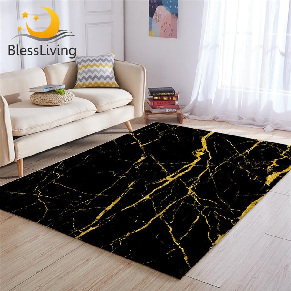 BlessLiving Marble Area Rug For Living Room Modern Gold Glitter Black Marble Stone Center Rug Trendy Bedroom Carpet Dropshipping