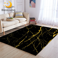 BlessLiving Marble Area Rug For Living Room Modern Gold Glitter Black Marble Stone Center Rug Trendy Bedroom Carpet Dropshipping