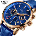2019 New Mens Watches LIGE Top Brand Luxury Leather Casual Quartz Watch Men Sport Waterproof Clock Blue Watch Relogio Masculino