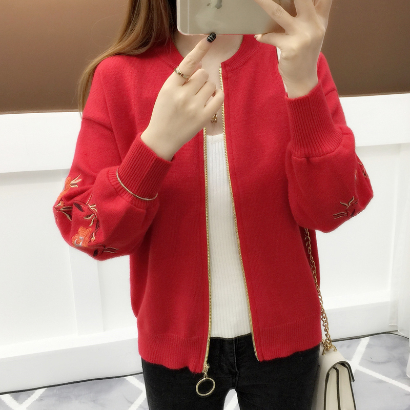New Fashion 2020 Elegant Floral Puff Sleeve Cardigan Women Embroidery Sweaters Outwear Cardigans Abrigos Mujer LX1869