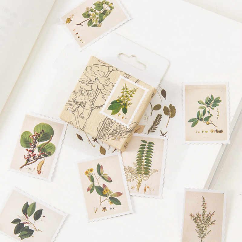 45 sztuk/pudło Vintage Stamp papeterii naklejki DIY Flamingo rośliny naklejki księżyc dekoracji pamiętnik papier do scrapbookingu