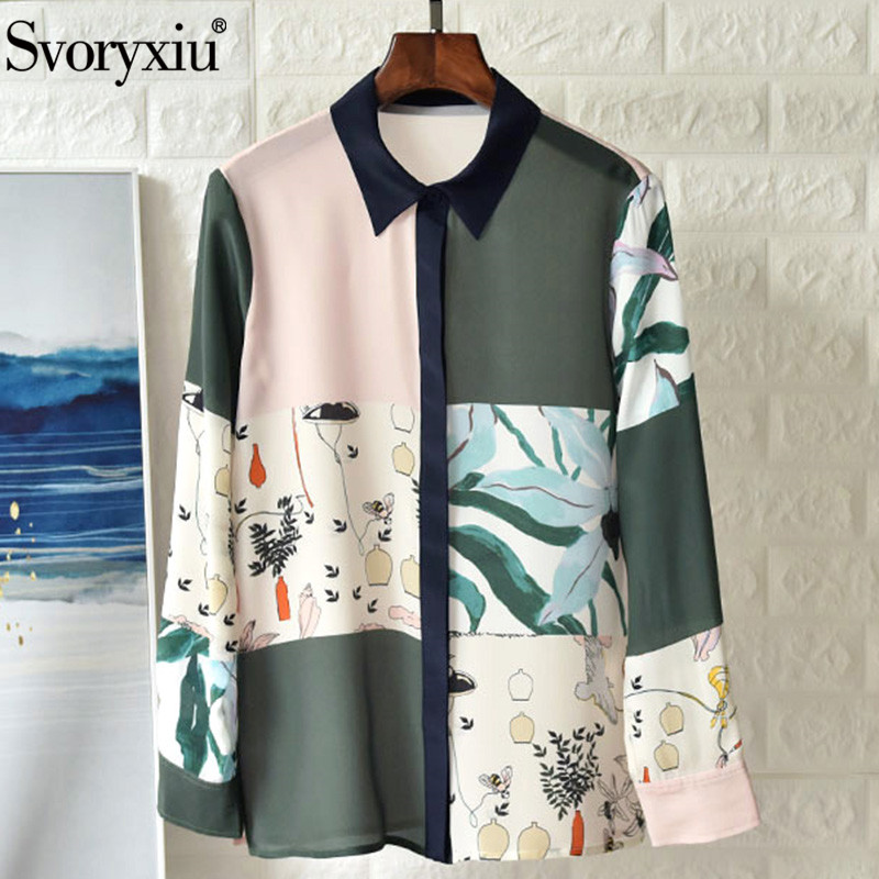 Svoryxiu/Высококачественная шелковая цветная модная дизайнерская блуза с принтом, рубашка, женские осенние Блузы с длинными рукавами, топы, руб