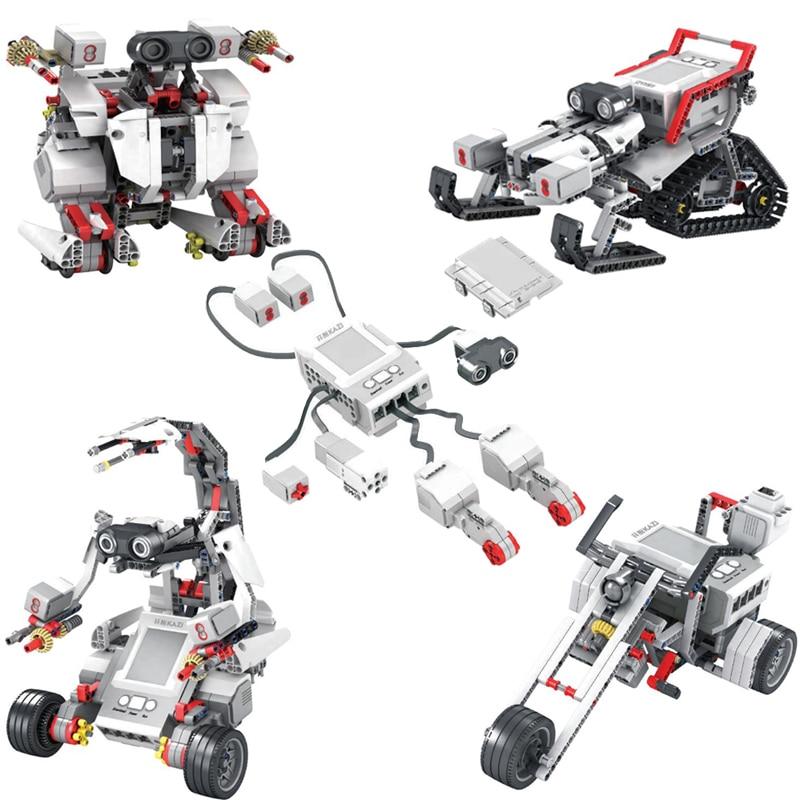 EV3 EV6 Compatible Lepinnglys 45544 Science Education Building Block Robot Creative Programming Intelligent APP Program Toy Gifs