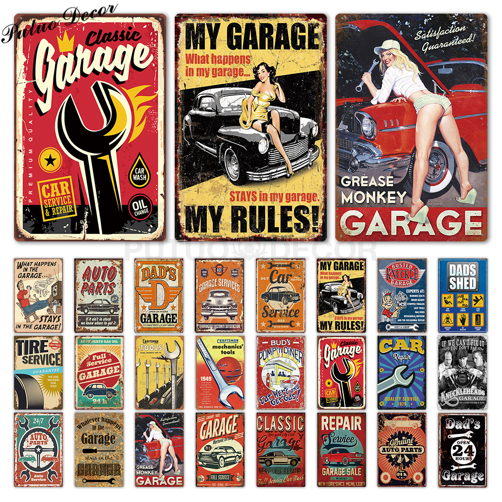 Garage Metal Sign Plaque Metal Vintage DAD'S GARAGE Retro Metal Tin Sign Garage Car Repair Man Cave Metal Wall Art Decor
