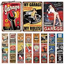 Garaje signo de Metal placa de Metal Vintage papá garaje Retro Metal estaño signo de garaje Reparación de cueva de hombre de Metal Arte de la pared Decoración