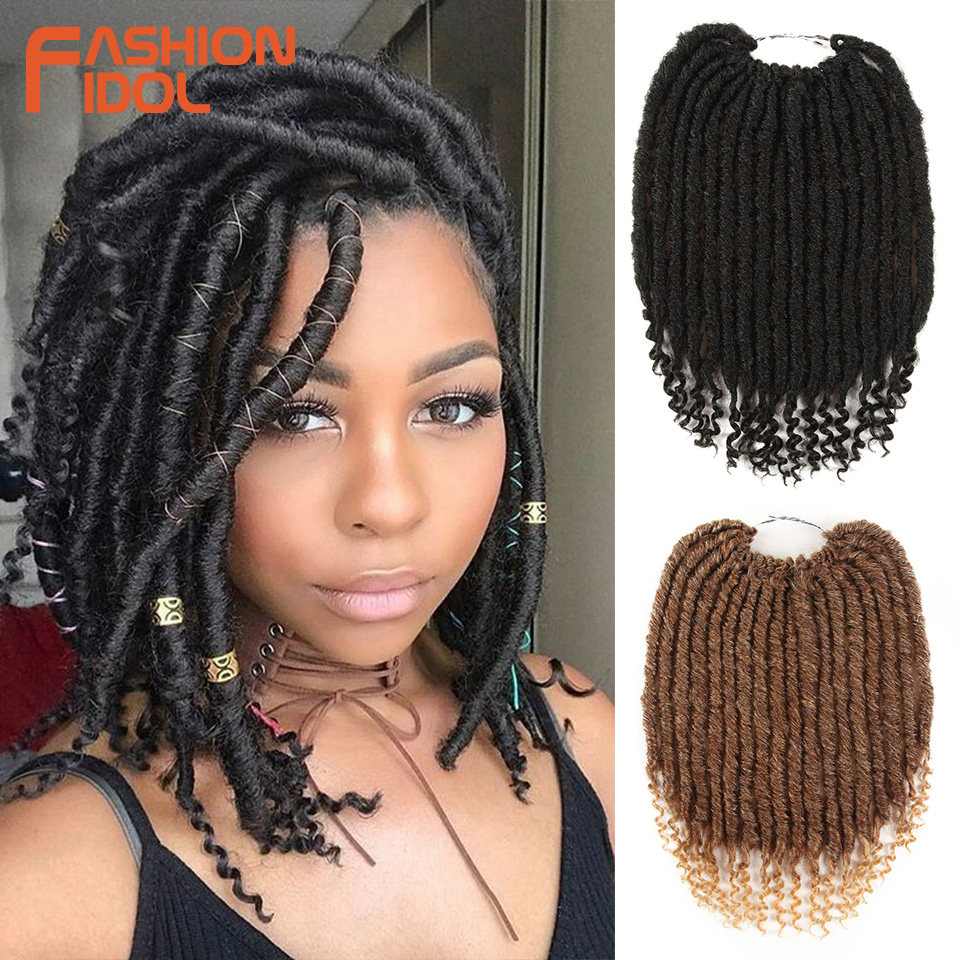 FASHION IDOL 12 Inch Faux Locs Crochet Braids Hair Synthetic Braiding Dreadlocks Hair Ombre Silver Grey Crochet Hair Extensions