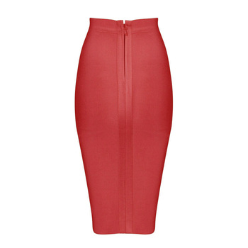 2019 Stretchy Elastic Women Knee Length Celebrity Bandage Skirts Sexy Slim Solid Color Pencil Skirt Drop Shipping HLS113 10