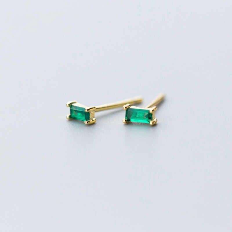 أقراط مرصعة بالحد الأدنى من BALMORA للسيدات أقراط هندسية مربعة الشكل من الزيركون باللون الأخضر والذهبي والفضي من الفضة الإسترليني عيار 925 مجوهرات