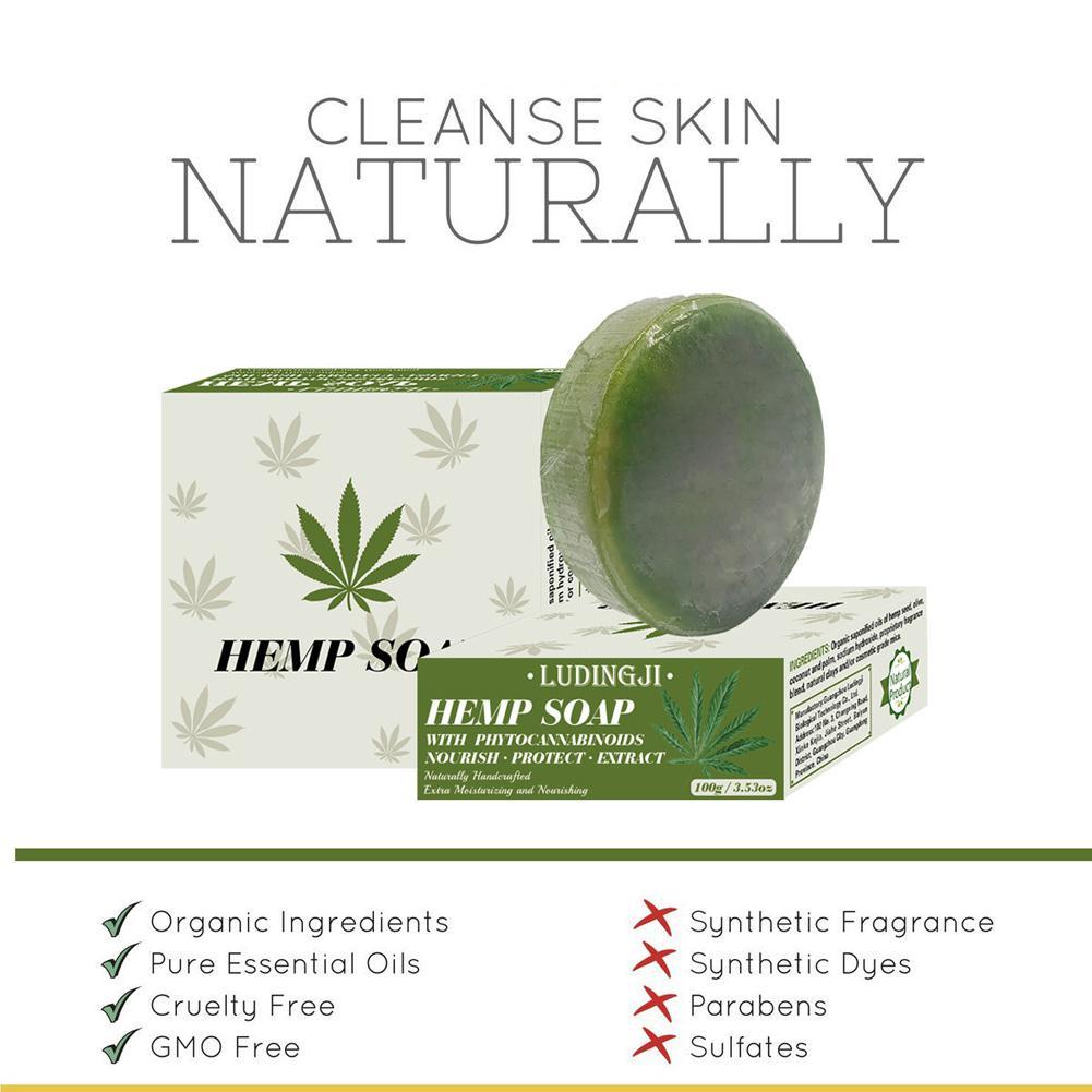 BellyLady Hemp Soap Brighten Skin Color Universal Manual Herbaceous Face Wash Soap Base Skin Care Vitamin A Soap Shower Gel