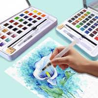 36/48 превосходные однотонные акварельные краски в наборе с кисточкой, складной дорожный пигмент цвета воды для рисования, товары для рукодел...