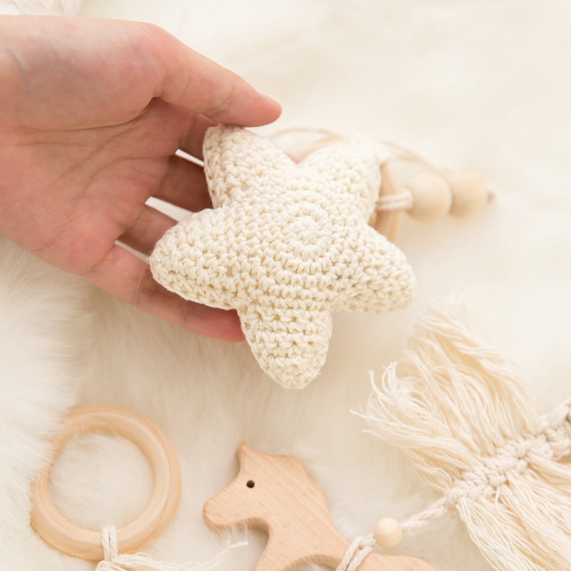 Let's Make Baby Gym Wood Crochet Star Bell Unicorn Beech Wood Teething Toys Play Gym Set Baby Shower Gift Toys For Newborn 1 Set | Happy Baby Mama