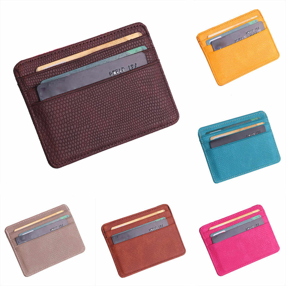 Women Men Lichee Leather Bank ID Card Wallet Holder Durable Slim Simple Travel Business Case With Purse Cardholder #T1P