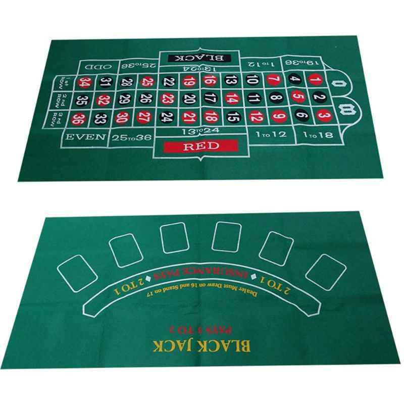 Double-sided Game Tablecloth Russian Roulette & Blackjack Gambling Table Mat