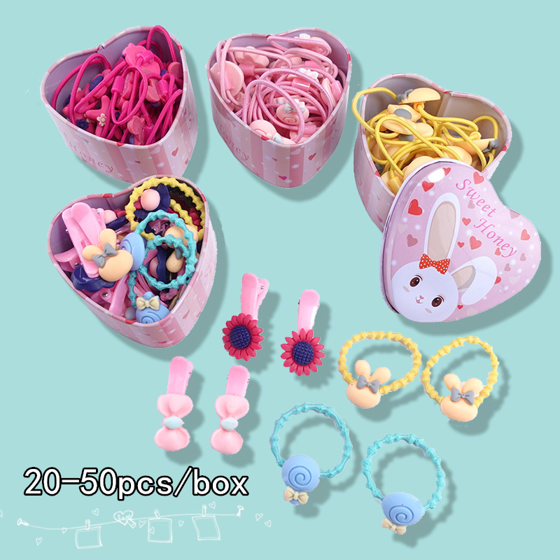 50PCS/Lot Hair Scrunchie Children's Pack Rubber Band Cute Cartoon Gift Color Minimalist Hair Rope Accessories Hair Ties Headdres