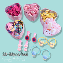 50PCS/Lot hair scrunchie Children's pack rubber band cute cartoon gift color minimalist rope accessories ties headdres