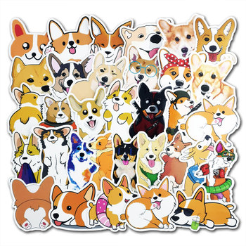 50Pcs/lot Cute dog Stickers Cartoon Puppy Sticekers For Skateboard Luggage Laptop Guitar Fridge Bike Car Sticker Decals Pack