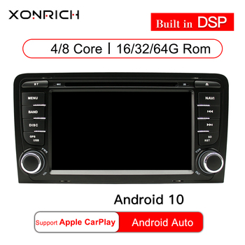 2 Din Android 10 Car Multimedia Player AutoRadio For Audi A3 8P S3 RS3 Sportback 2003 2004 2005 2006 2007 2008 2009 2010 2011GPS image