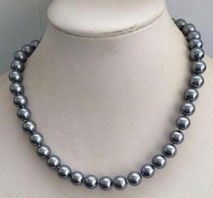 Envío Gratis, 10mm, gris oscuro, Mar del Sur, concha de perla, collar de cuentas redondas de 18