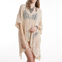 2020 Beach Cover Up Bikini Crochet Knitted Tassel Beachwear Summer Swimwear Women Swimsuit Cover Up Sexy Hollow Out Beach Dress