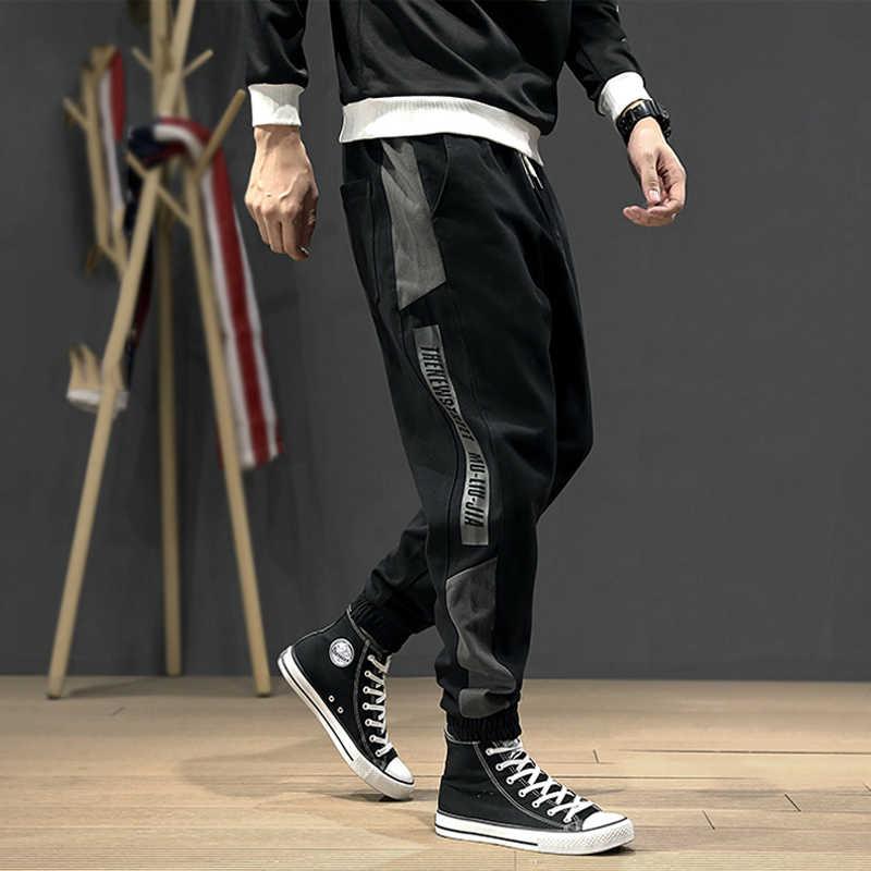 الكورية نمط الأزياء ركض الرجال فضفاض صالح عارضة الترفيه البضائع السراويل الجانب شريط الحريم السراويل الشارع الشهير الهيب هوب السراويل الرجال