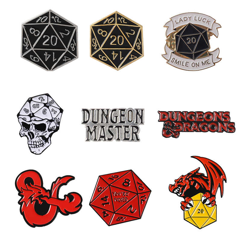 D20 Pinos Vinte-Sided Die RPG Dungeons & Dragons D & D Game Table-top Fãs Presentes Jóias broches pinos Esmalte alfinetes de Lapela e Emblemas