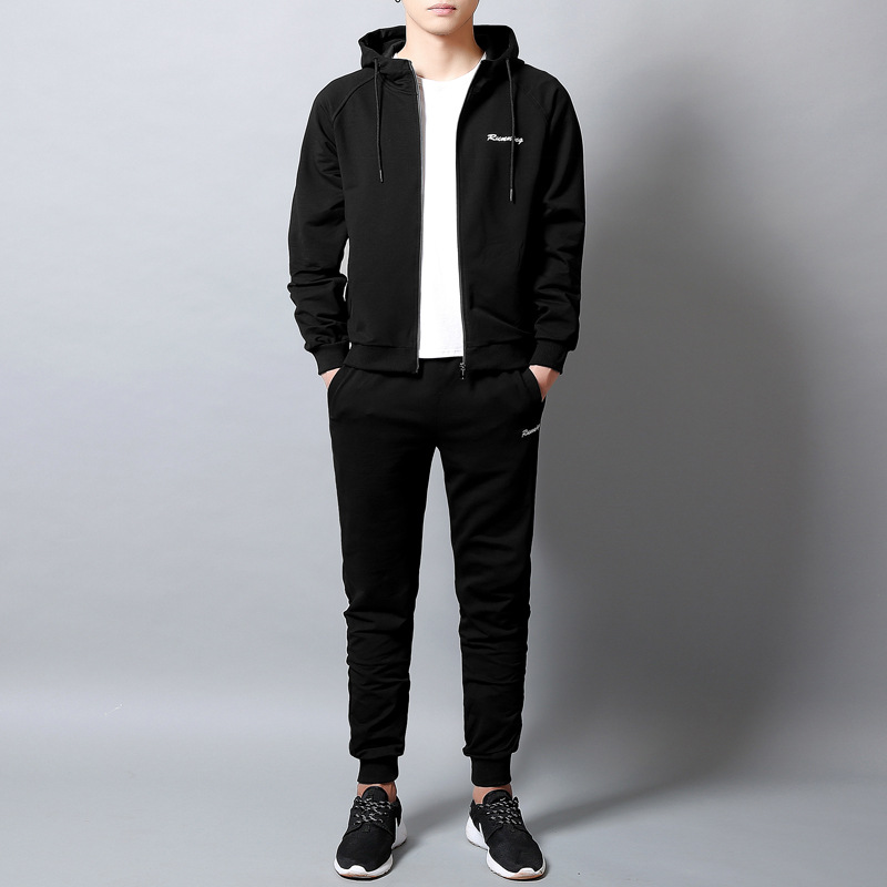 Cross Border For Autumn New Style Long Sleeve Zip-up Jacket Casual Sports Hoodie Suit Men's Hooded Cardigan Two-Piece Set